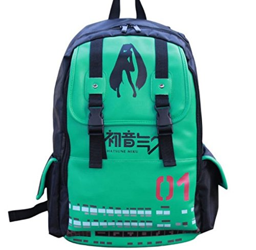 Hatsune Miku Anime Cosplay PU Shoulder Backpack,Kid's School Backpack,Men and Women Travel Outdoor Sports Bags/Anime Fans Messenger Hand Bag Laptop Backpacks ()