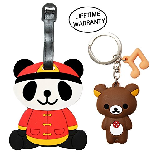 DIYJewelryDepot Cute Panda Luggage Travel Tag for Bags & Backpacks + Keychain (Chinese Red)