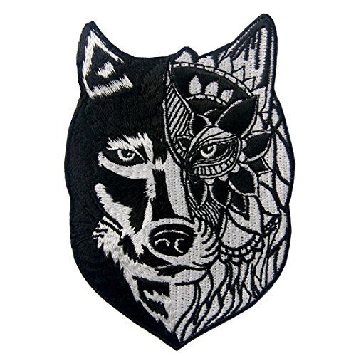 ZEGINs Sunflower Tribal Wolf Applique Embroidered Badge Iron On Sew On Patch ()