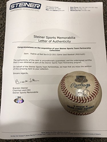 Boston Redsox 6/22/11 Vs San Diego Padres Authentic MLB Rawlings GAME USED Baseball (USED IN ACTUAL GAME) Steiner Sports & MLB COA & Hologram