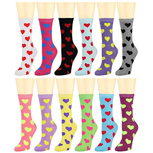 12 Pairs Women's Cotton Crew Socks Assorted Colors (Hearts) ()