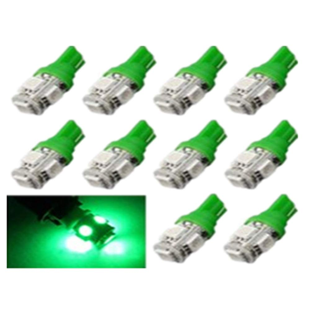 Blue 10PCS T10 5-SMD 5050 Car LED Interior Light Bulb Vehicle Universal Bulbs Replacement For Interior Lamps Rear Side Lights Footwell Reading Light 192 168 194 W5W 2825 158 Lower Heat Longer Lifespan