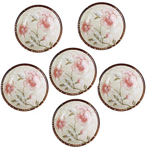 - SOCOSY Elegant Sakura Ceramic Seasoning Dishes,Cherry Blossom Sauce Dish Sushi Dipping Bowl Tea Bag Holder Serving Dish for Kitchen(4pcs/6pcs)