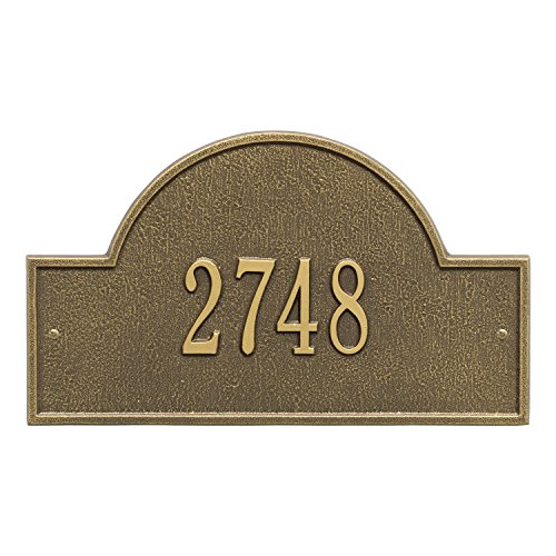 Whitehall Arch Marker - Standard Wall - One Line- Antique Brass