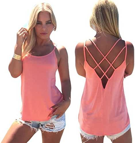 Blooming Jelly Women's Casual Loose Strap Hollow Out Back Camisole Tank Tops
