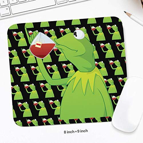 Mens Students 8 x 9inchs Funny-Green-Frog-Sipping-Tea-Wrist Rest with Black Anti Slip Rubber Base Waterproof 3mm Thick Comfortable Wireless Mousepad Mat for Desktops PC -