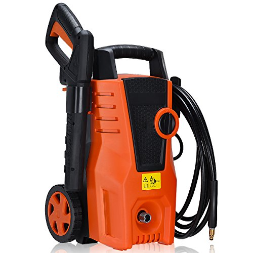 Goplus Electric High Pressure Washer 1400PSI Power Pressure Washer Machine with Hose Reel & Soap Foam (High Pressure Performance Hose Reel)