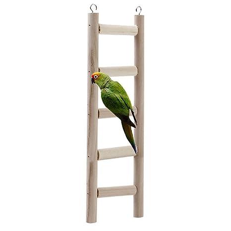 Juguete de madera natural para pájaros, columpio para loros ...