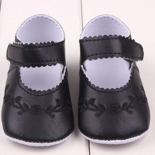 Xiangze La Moda De Primavera De La Nina De La PU De Cuero Suave Suela De Calzado Cuna Negro