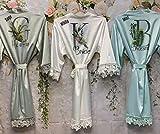 Customized Bridesmaid Robes Silk Lace Bridal Robe Bridesmaids Gift Maid of Honor Proposal