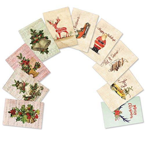 10 Boxed 'Vintage Christmas' Assorted Merry Christmas Cards w/ Envelopes - Featuring Images of Antique and Vintage Xmas Items - Variety Box of Happy Holidays and Seasons Greetings Gifts A5561XSG-B1x10