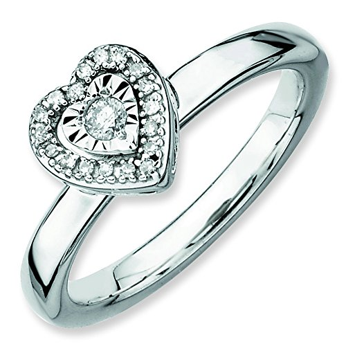 Sterling Silver Polished Prong set Rhodium-plated Stackable Expressions Heart Diamond Ring - Size 9 (Diamond Jewelry Navel Heart)