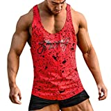 Men T— Shirt Undershirts Fitness Muscle Print Sleeveless Bodybuilding Tight-Drying Vest Blouses (L, Red)