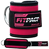 FITPACT Ankle Strap Cable Machine Pink Cuff Pulley Attachment Adjustable Velcro D Ring Gym Weight Lifting Leg Thigh Abs Leg Butt Exercise Band Workout Crossfit