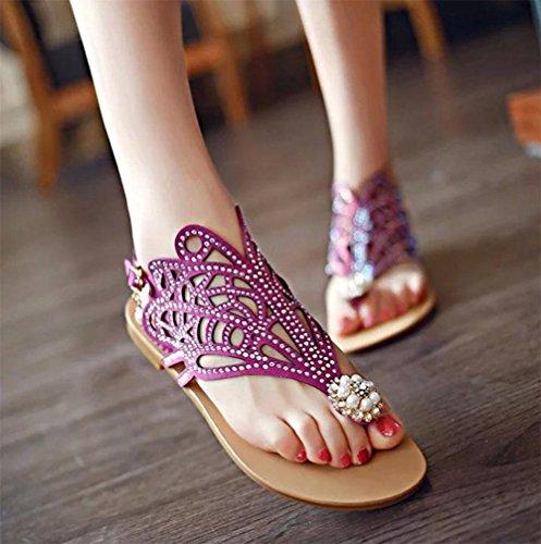 Flip-Flop, flache Sandalen hohle Perle Rhinestone Art und Weise beiläufige Strandsandale purple