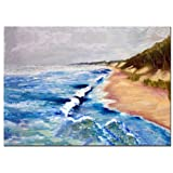 Lake Michigan Beach with Whitecaps I by Michelle Calkins, 18x24-Inch Canvas Wall Art