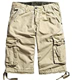 Best Mens Cargo Shorts - WenVen Men's Cotton Cargo Shorts khaki, 30 Review