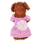 Norbi Dog Dress Pet Cotton Lace Flower Princess Dress Breathable Shirt Vest Puppy Clothes Apparel