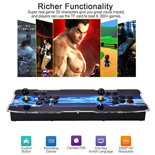 3D Pandora's Key Retro Home Arcade Game Console | No Games Pre-loaded | Full HD (1920x1080) Video | 2 Player Game Controls | Support 4 Players | Add More Games | HDMI/VGA/USB/AUX Audio Output by HAAMIIQII (Image #3)