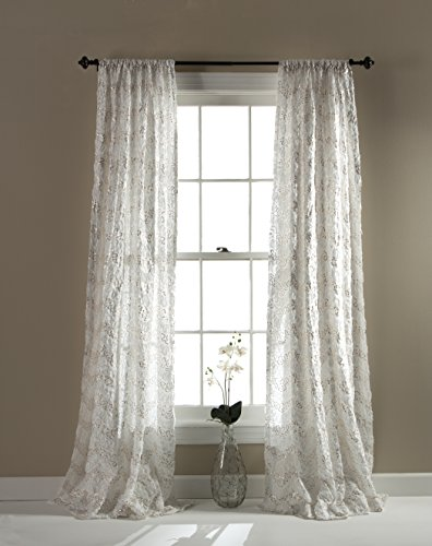 Lush Decor Giselle Window Panel, 84 by 54-Inch, Ivory Giselle Panel
