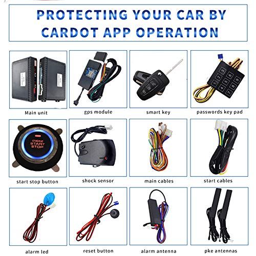 KUNFINE GPS Smart Security Car Alarm Passive Keyless Entry Auto Central Lock Push Button Remote Car Engine Start Stop iOS Android for 688FD