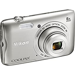 Nikon COOLPIX A300 20.1MP 8x Optical Zoom NIKKOR WiFi Digital Camera (Silver) + 32GB Class 10 UHS-1 SDHC Memory Card + Two-Pack EN-EL19 Replacement Battery + Accessory Bundle