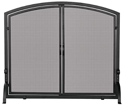 Uniflame Single Panel Black Wrought Iron Screen with Doors
