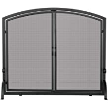 Uniflame, S-1062, Medium Single Panel Black Wrought Iron Screen with Doors