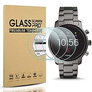 Diruite 3-Pack for Fossil Q Explorist HR Gen 4 Screen Protector Tempered Glass for Q Explorist HR Smartwatch [2.5D 9H Hardness][Anti-Scratch][Optimized Version] - Permanent Warranty