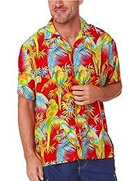 b679eb21cfc Men s Hawaiian Shirt Button Down Casual Aloha Shirt Short Sleeve Beach  Shirts