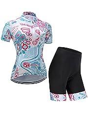 GWELL Dames fietsshirt bloemen wielersport kleding set shirt korte mouwen + broek met gevoerde zitting