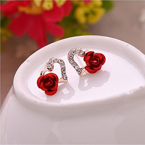 JD Million shop 2017 New Hot ! Fashion Fine Excellent Jewelry Gold Color Rhinestones Heart-shaped Rose Flower Stud Earrings For Women Gift E-614