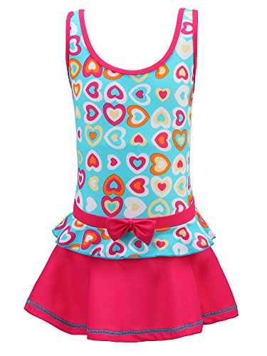 Chrysea Girls One-Piece Swimsuit Colorful Heart-Shaped Patterns Printed Swimwear (12-13 Years, Blue and Rose ()