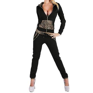 CHIC-CHIC Femmes Sweat-shirts Zip Manches Longues+ Pantalons Sport Deux  Pièces Ensemble Survêtement Imprime Léopard  Amazon.fr  Vêtements et  accessoires 963ebe6ef0b