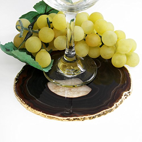 The Royal Gift Shop Authentic Brazilian Agate Slice with 24K Gold Plated Rim - Protective Rubber Bumpers Included. Brown (5