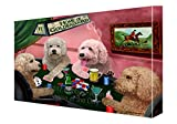 Home of Goldendoodles 4 Dogs Playing Poker Canvas Wall Art (10x12)