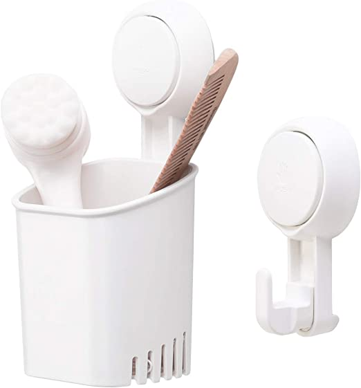 Tooth Brush and toothpaste Holder With Suction Cups To Adhere To Smooth Surfac