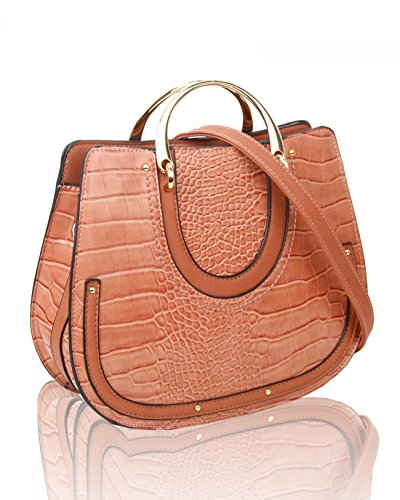 Bag Faux Women's Shoulder Croc Bags 586 Handbags Brown LeahWard Handbag Print Tote Leather For Her Holiday 8wdXAqXnx