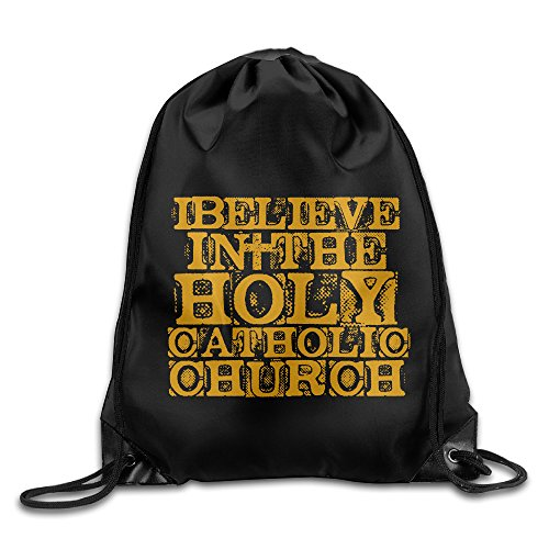 I Believe In The Holy Catholic Church Drawstring Backpack Bag White