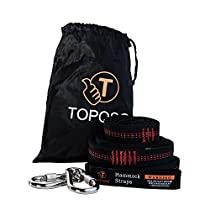 TOPQSC Hammock Straps Swing straps Long (Set of 2), Ultralight, Adjustable, No Stretch Hammock Suspension System Hammock Tree Straps Suitable with 2 Heavy Duty Hooks for Hammocks Swing Tree
