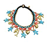 JUICY ACCESSORIES BY JUICY SKIN CARE Ankle Bells Oriental Anklet with Bells Women Turquoise Anklet Women Foot Jewelry (Starfish+Fish)
