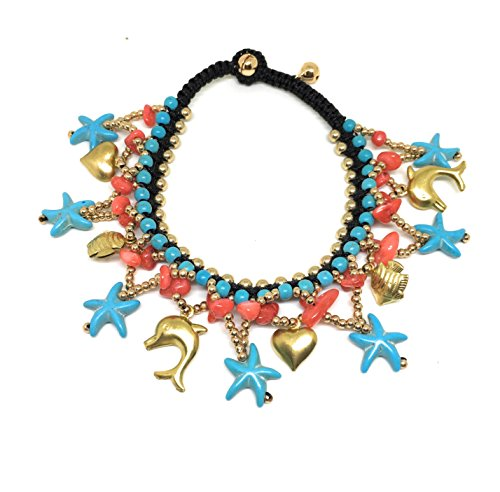 JUICY ACCESSORIES BY JUICY SKIN CARE Ankle Bells Oriental Anklet With Bells Women Turquoise Anklet Women Foot Jewelry (Oriental Bell)