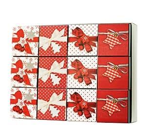 Stewo - Juego de cajas de regalo, cartón, 12 unidades, 10 x 10 x 10 cm, color rojo y blanco