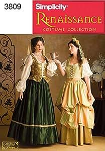 Simplicity 3809 N - Patrones de costura para disfraces renacentistas de mujer