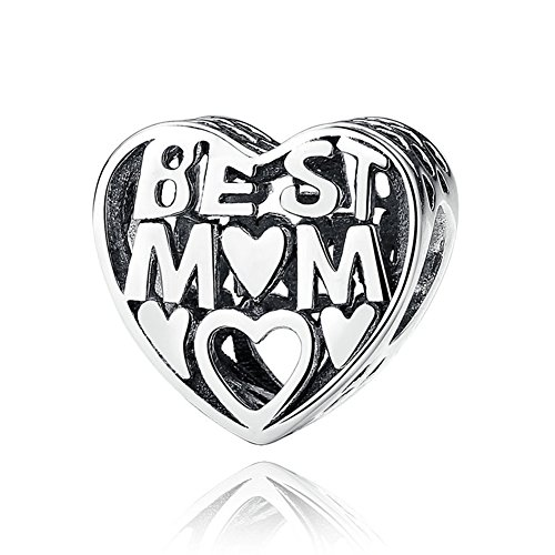 BEAUTY BEST MOM Charm 925 Sterling Silver Heart Mother's Day Bead For Lady And Girl GIFT Fit Necklace and Bracelet