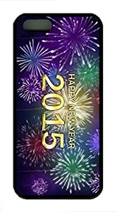 Rosesea Custom Personalized iPhone 5 5S Case, New Year Fireworks Personalized Protective TPU Black Edge Durable Case Cover for iPhone 5 5S
