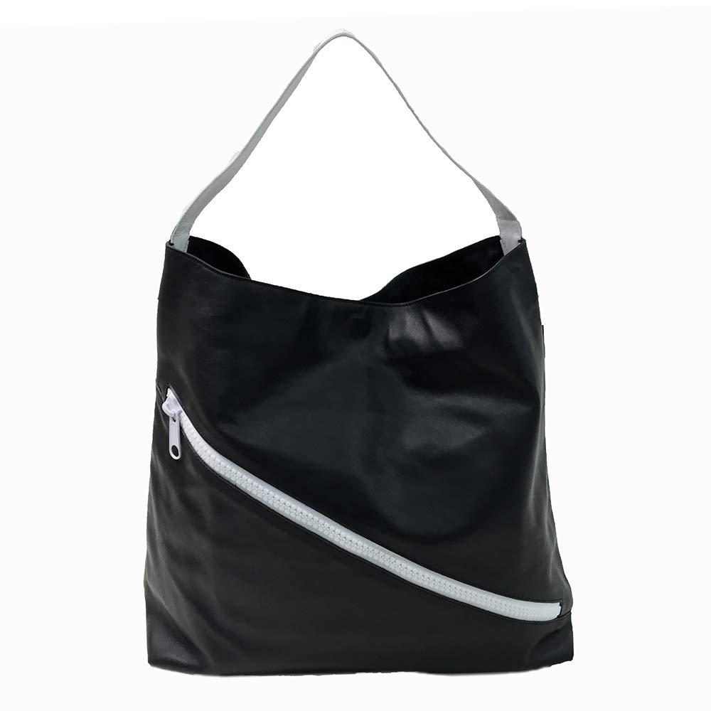 ヴェルディーノ ワンショルダー ホーボー レザー SULLY-HOBOBAG B07JDNBCPY BLACK wWHITE ブラック/ホワイト