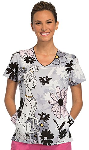 Tooniforms by Cherokee Women's V-Neck 101 Dalmatians Print Scrub Top Large Print
