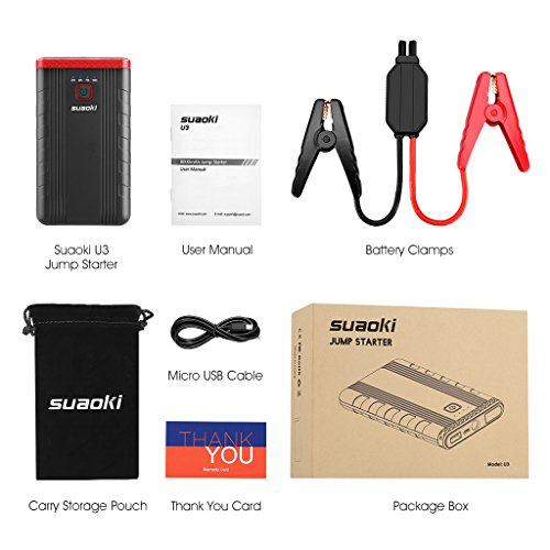 Suaoki U3 400A Peak Jump Starter Lithium ion Phone Charger and Battery Booster Power Pack for Automotive Truck Motorcycle Boat by SUAOKI (Image #6)