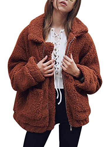 - CHOiES record your inspired fashion Women's Brown Lapel Long Sleeve Faux Shearling Coat Winter Warm Cardigan S